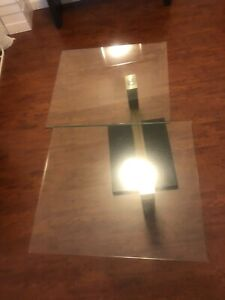Double glass spinning coffe table (tempered glass)