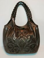 RARE BRIGHTON LOCKHEART PINWHEEL FOREST METALIC PEWTER SHOULDER HANDBAG