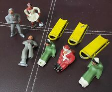 9 Vintage Barclay Christmas Winter Metal Lead Toy Figures SANTA SLEDS SKATERS
