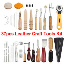 37 PCs Leather Craft Sewing Punch Tool Kit Set Carving Working Stitching Cutter