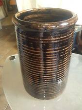 Furlong Wines Ridged Brown & Black Pottery Ice Bucket
