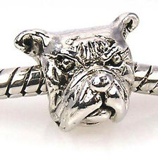 Wholesale 20pcs Bulldog Silver European Bracelet Spacer Charm Beads D55