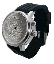 Full Moon 3D lithophane Watch: LED light, lunar dark side phase glow astro steel