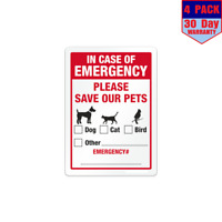 Emergency Save Our Pets Window Fire Police EMS 4 Stickers 4x4 Inch Sticker Decal