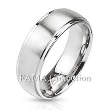 FAMA Stainless Steel Polished Edges & Brushed Center Dome Wedding Band Ring