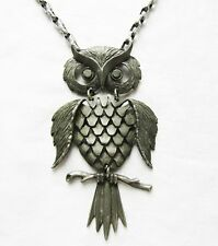 Vintage Pewter Metal Articulated Owl Necklace 4 Inch Pendant Hammered Chain