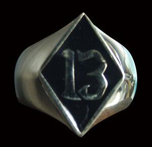 Bronze 13 Diamond Face Biker Ring Black Enamel Occult lucky Custom Size R-125b