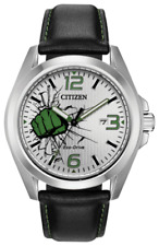 *BRAND NEW* Citizen Eco-Drive Men's The Hulk Black Leather Watch AW1431-24W