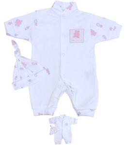 BabyPrem Premature Baby Clothes Girls Tiny Sleepsuit Romper Hat Set 1.5 - 7.5lb