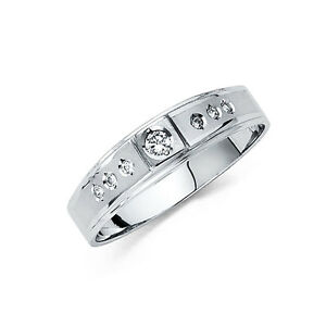 14k Solid White Gold 4 mm Round Cut Diamond Men's Wedding Band Ring