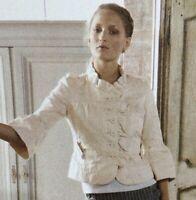Anthropologie Ett Twa Seneca Crop Jacket Womens SZ 10 Ruffle Collar Cotton Linen