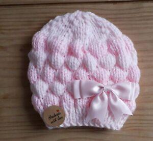 Pink/Hand gestrickte Baby Mütze/0-3 Monate