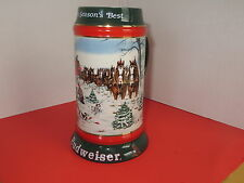 """Budweiser Stein / Mug 1991 Collector's Series """"The Seasons Best"""" Clydesdales Adv"""