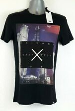 Fabric Chicago Est Wst T shirt Mens  Top Black XSMALL 100% Cotton  B623-28