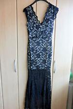 Maxi Kleid Schwarze Spitze Beige unterlegt Neu Größe S
