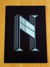 JESSICA HISCHE TYPOGRAPHIC POSTCARD ~ DAILY DROP CAPITAL LETTER N ~ BLACK ~ NEW