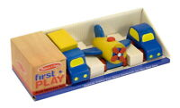Melissa and Doug Wooden Children Kids First Vehicles Toy Set
