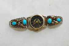 Vintage Ladies 4 stone Turquoise Sterling Silver & GoldFill Watch tips
