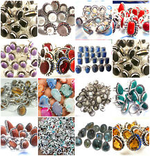 Christmas Deal Mix Gemstone Wholesale Lot 50pc 925 Sterling silver overlay rings