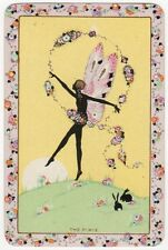 Playing Cards 1 Single Swap Card - Vintage Named THE PIXIE Girl Dancing Rabbits