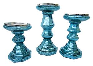 Valerie Parr Hill Set of 3 Illuminated Mercury Glass Candle Pedestals (Defect)