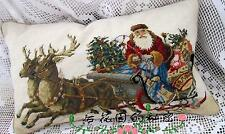 Vintage Wool cushion cover woolen needlepoint pillow Christmas Santa Claus elk