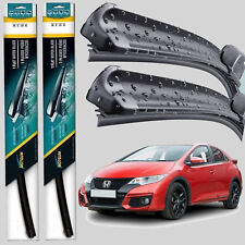Front Pair Flat Aero Wiper Blades Honda Civic 2012 2013 2014 2015 2016 Set