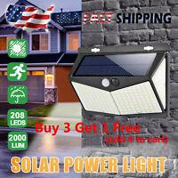 Solar Power Lamp 208-LED Outdoor Garden Yard PIR Motion Sensor Wall Light Bright