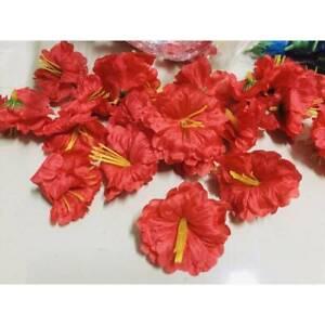 7 Cm.Shoeblackplant Flowers Fabric Fake Artificial Thai Decorate Supply Head Red