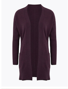 M&S AUTOGRAPH BERRY PURE CASHMERE RIBBED SLEEVE CARDIGAN