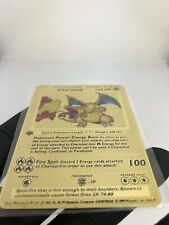 Pokemon Karte Glurak Charizard Gold Metal  Shadowless 1. Edition Unique
