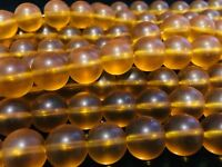"8mm - Amber Matte Quartz (Reconstituted) Round Beads 15.5"" Strand UK EBAYER"