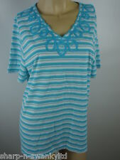 ☆ BNWT NEW Ladies Aqua/White Striped V Neck Embroidered Top UK 16-18 EU 44-46 ☆