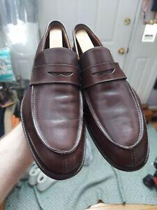 EUC Saks Fifth Avenue Taft Brown Calf Leather Split Moc Penny Loafers Men's 8 M