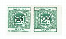 Knott End Railway 1909 pair 2d green Railway letter stamps - 964 printed