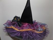 Handmade light up Witches Hat  Halloween Celstial Owl purple gold black costume