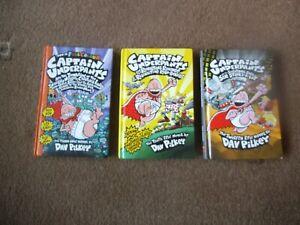 CAPTAIN UNDERPANTS  ~ DAV PILKEY 3 x HB Book  LADIES,  BOXERS & SIR STINKS A LOT