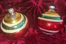 2 Colorful Vintage Mercury Glass Christmas Ornament Made In West Germany-Euc