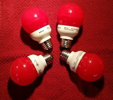 RED LED PARTY BULB 4X 1 WATT SCREW IN BULBS INDOOR OUTDOOR AMUSEMENT SIGNS PATIO
