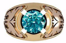 1.50 Ct Forever Blue Moissanite Eangagement Solitaire Mans Ring.925 Fine Silver