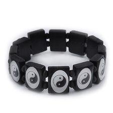 Black/White 'Yin Yang' Stretch Wooden Bracelet - Adjustable
