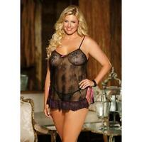 Shirley of Hollywood Floral Lace Babydoll, Blue