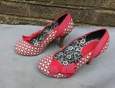 Ruby Shoo Red white Floral Heels bow UK 5 EU 38 court retro