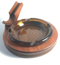 Vintage Decatur Wood Walnut Pipe Holder Glass Ashtray Amber Glass