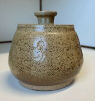 """Vintage Honey Pot ~ Hand Thrown Pottery Artist Signed stoneware 4 1/2"""" Tall"""