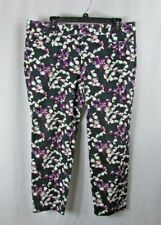 Banana Republic 12P cropped or CAPRI dress Pants 12 petite green purple floral