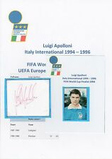 LUIGI APOLLONI ITALY INTERNATIONAL 1994-1996 ORIGINAL HAND SIGNED CUTTING