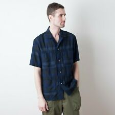 Sage de Cret Camp Collar Shirt - Navy Plaid - Size Medium