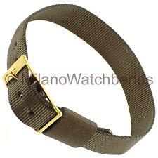 14mm Milano Ladies Sport Strap Wrap Thin Nylon Buckle Khaki Watch Band