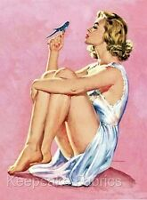 Pin Up Beauty With Bluebird Fabric Quilt Block FrEe ShiPpinG WoRld WiDe c